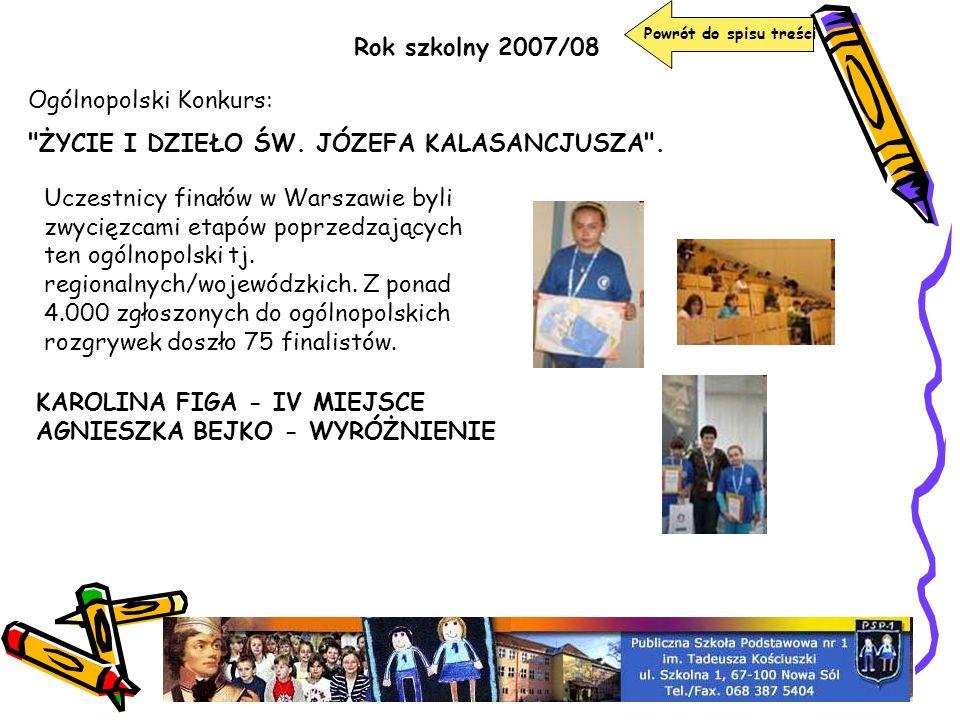 Ogólnopolski Konkurs: ŻYCIE I DZIEŁO ŚW. JÓZEFA KALASANCJUSZA .