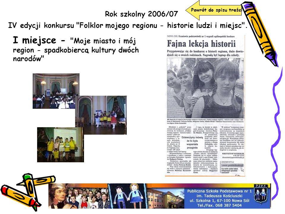 Powrót do spisu treści Rok szkolny 2006/07. IV edycji konkursu Folklor mojego regionu - historie ludzi i miejsc .