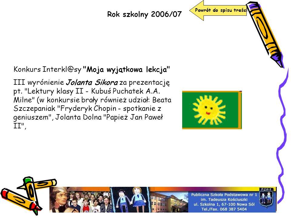 Konkurs Interkl@sy Moja wyjątkowa lekcja