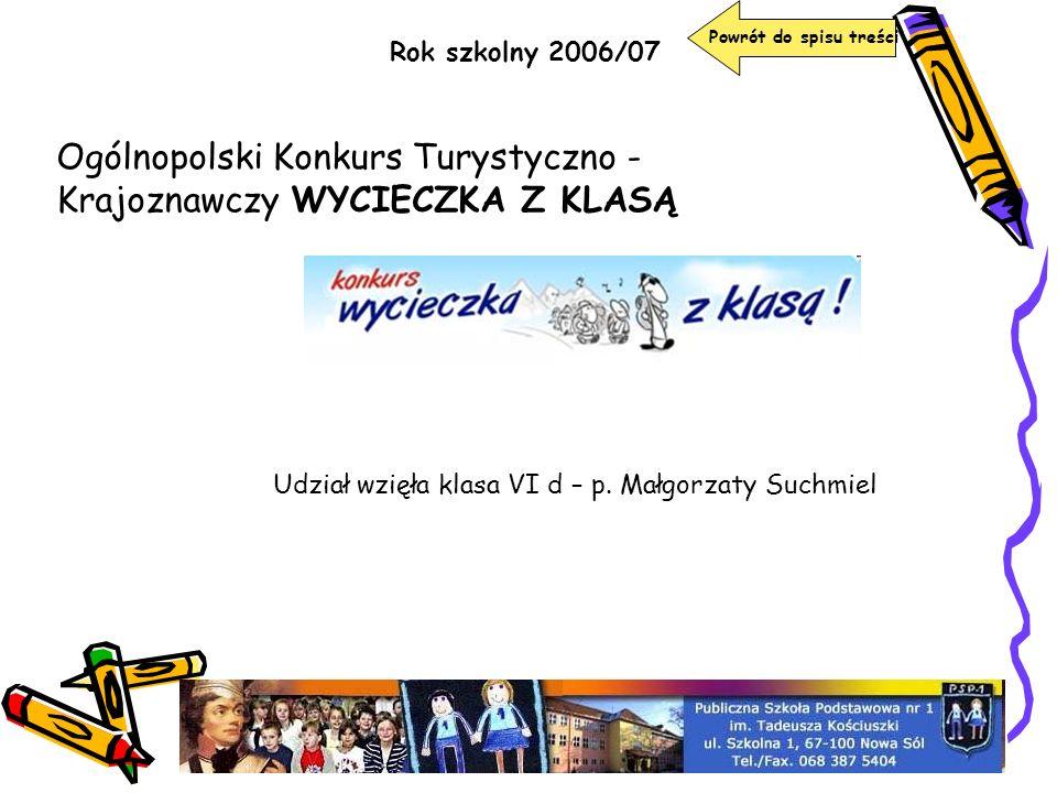 Ogólnopolski Konkurs Turystyczno - Krajoznawczy WYCIECZKA Z KLASĄ
