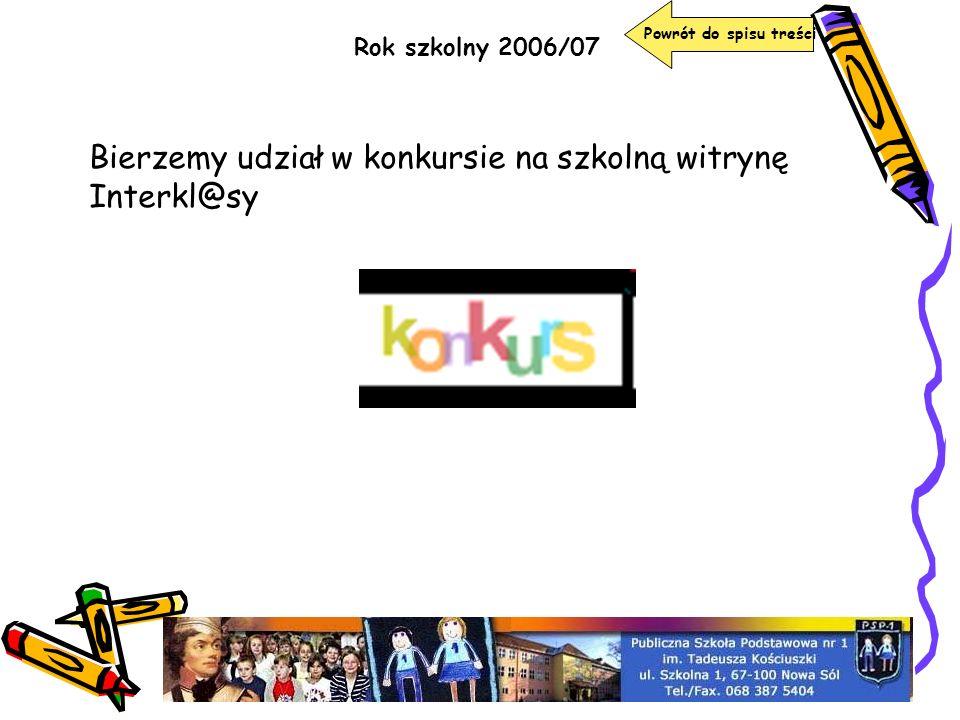 Bierzemy udział w konkursie na szkolną witrynę Interkl@sy