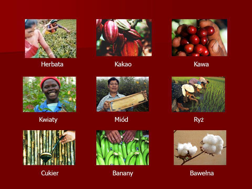 Herbata Kakao Kawa Kwiaty Miód Ryż Cukier Banany Bawełna
