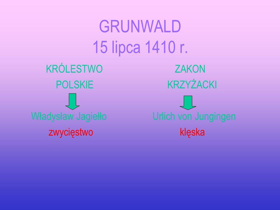 GRUNWALD 15 lipca 1410 r. KRÓLESTWO POLSKIE Władysław Jagiełło