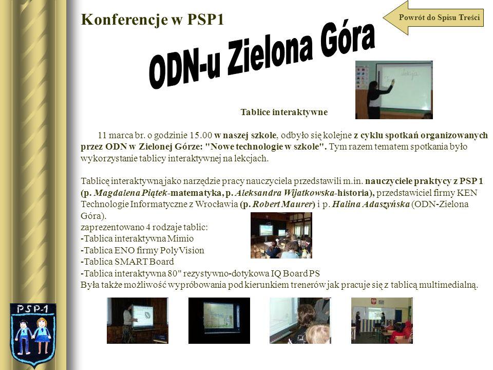 ODN-u Zielona Góra Konferencje w PSP1 Tablice interaktywne