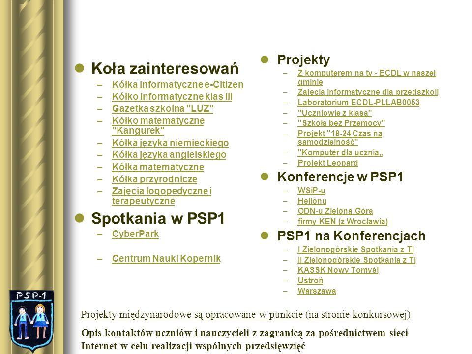 Koła zainteresowań Spotkania w PSP1 Projekty Konferencje w PSP1