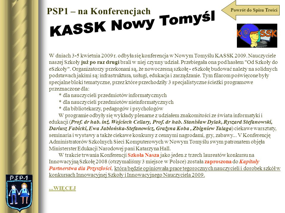 KASSK Nowy Tomyśl PSP1 – na Konferencjach
