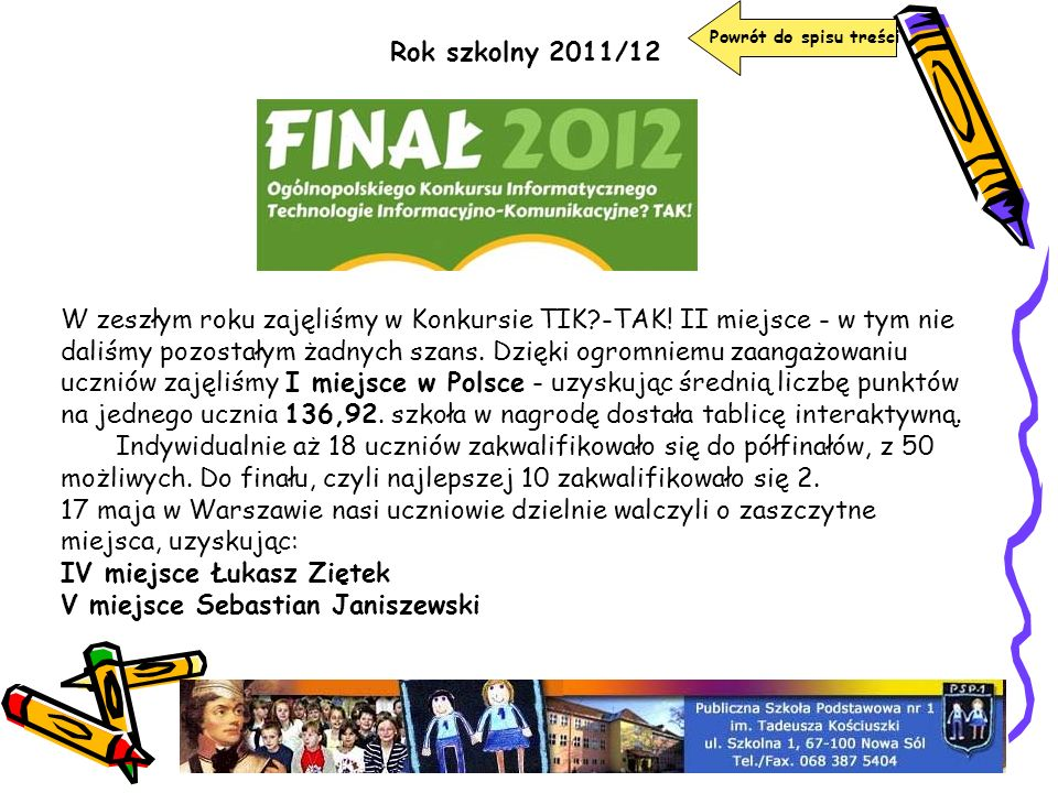 Powrót do spisu treści Rok szkolny 2011/12.