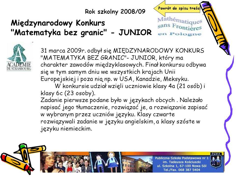 Międzynarodowy Konkurs Matematyka bez granic - JUNIOR