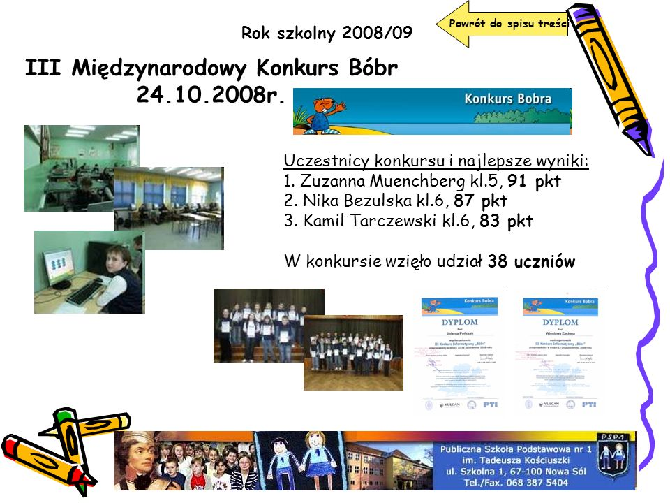 III Międzynarodowy Konkurs Bóbr 24.10.2008r.