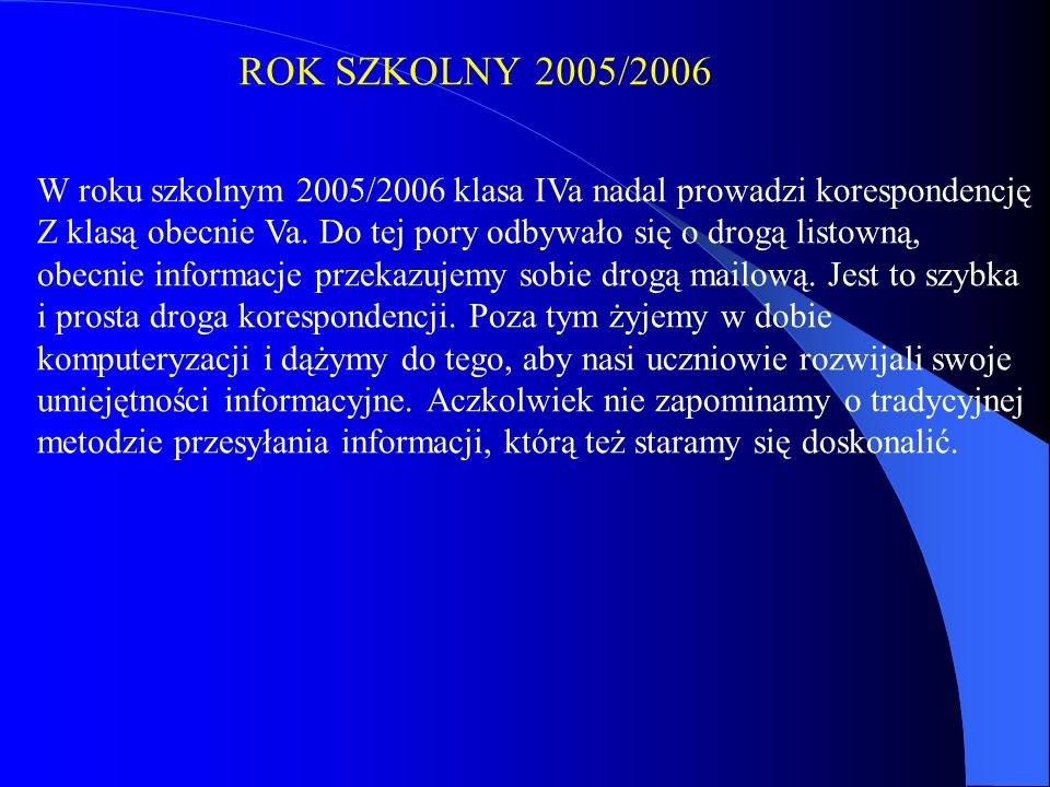 ROK SZKOLNY 2005/2006 W roku szkolnym 2005/2006 klasa IVa nadal prowadzi korespondencję.