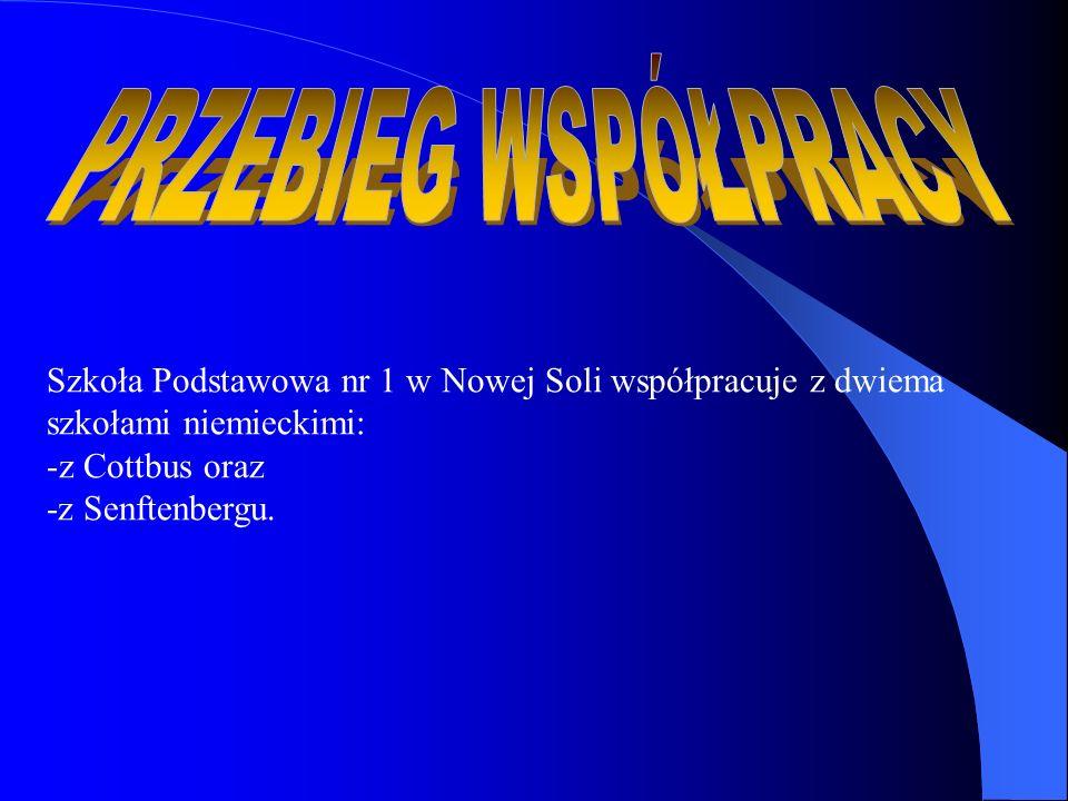 PRZEBIEG WSPÓŁPRACY Szkoła Podstawowa nr 1 w Nowej Soli współpracuje z dwiema. szkołami niemieckimi: