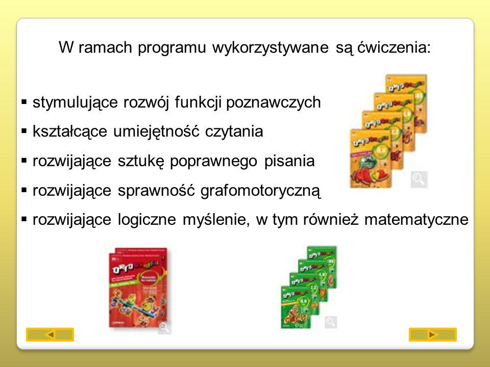 W ramach programu wykorzystywane są ćwiczenia: