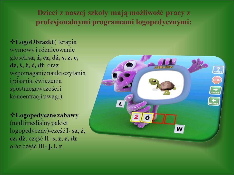 Dzieci z naszej szkoły mają możliwość pracy z profesjonalnymi programami logopedycznymi: