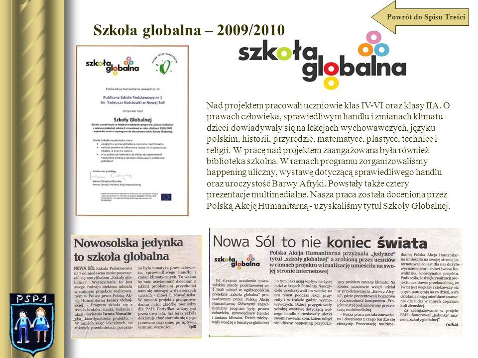 Powrót do Spisu Treści Szkoła globalna – 2009/2010.