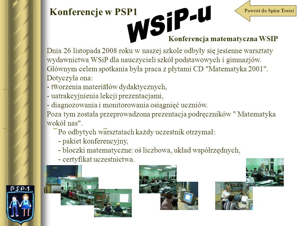 WSiP-u Konferencje w PSP1 Konferencja matematyczna WSIP