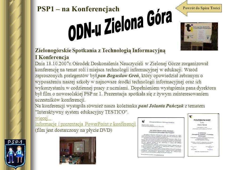 ODN-u Zielona Góra PSP1 – na Konferencjach