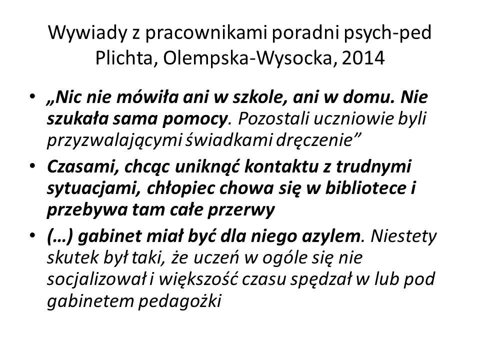 Wywiady z pracownikami poradni psych-ped Plichta, Olempska-Wysocka, 2014