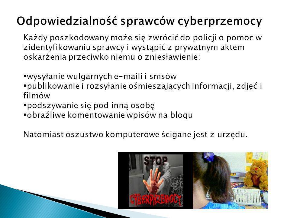 Odpowiedzialność sprawców cyberprzemocy