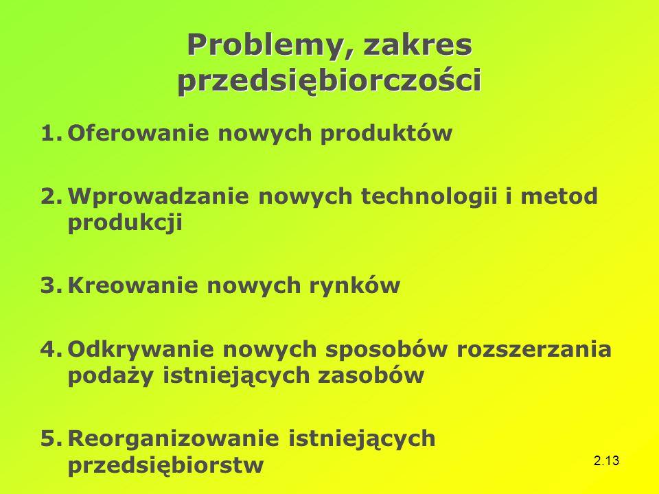 Problemy, zakres przedsiębiorczości