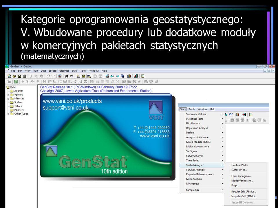 Kategorie oprogramowania geostatystycznego: V