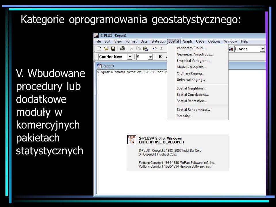 Kategorie oprogramowania geostatystycznego: