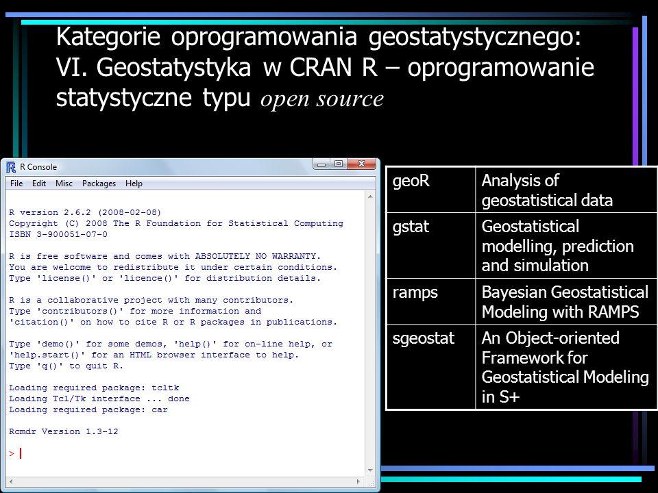 Kategorie oprogramowania geostatystycznego: VI