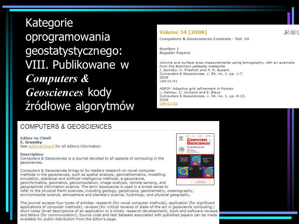 Kategorie oprogramowania geostatystycznego: VIII