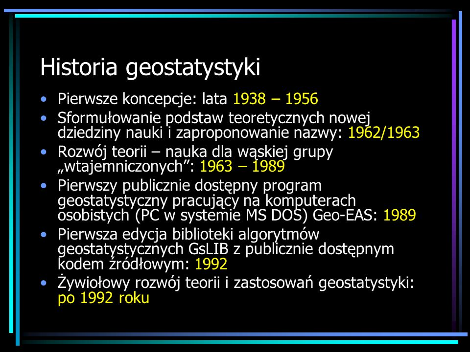 Historia geostatystyki