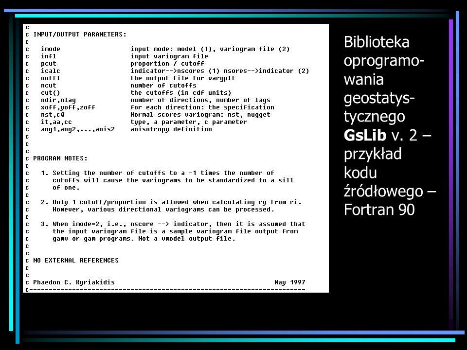 Biblioteka oprogramo-wania geostatys-tycznego GsLib v