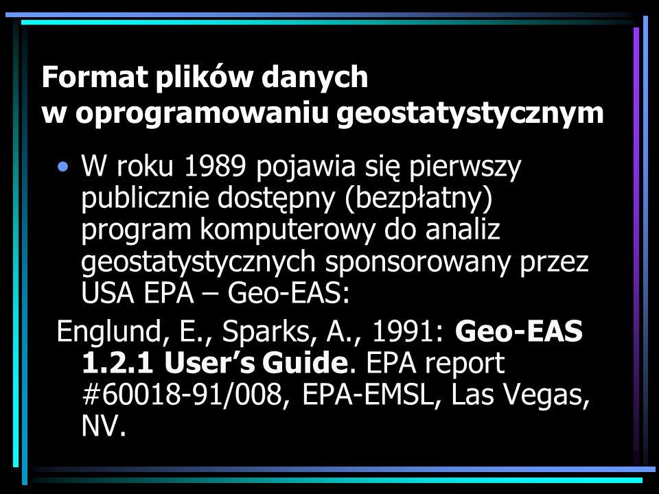 Format plików danych w oprogramowaniu geostatystycznym
