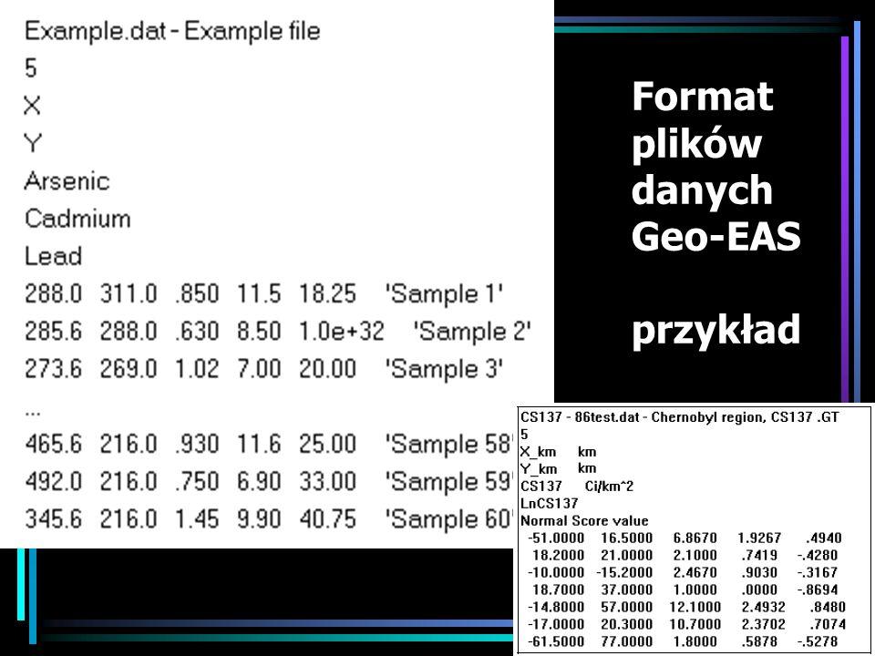 Format plików danych Geo-EAS przykład