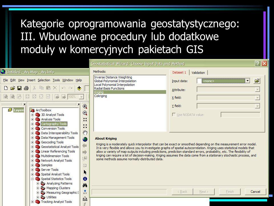 Kategorie oprogramowania geostatystycznego: III