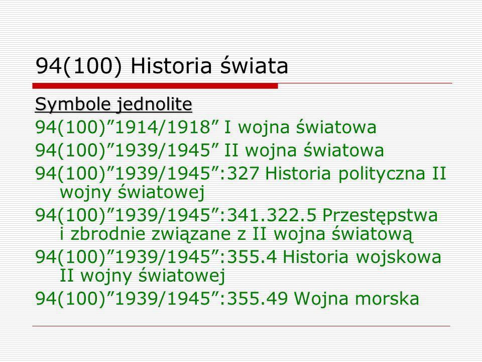 94(100) Historia świata Symbole jednolite
