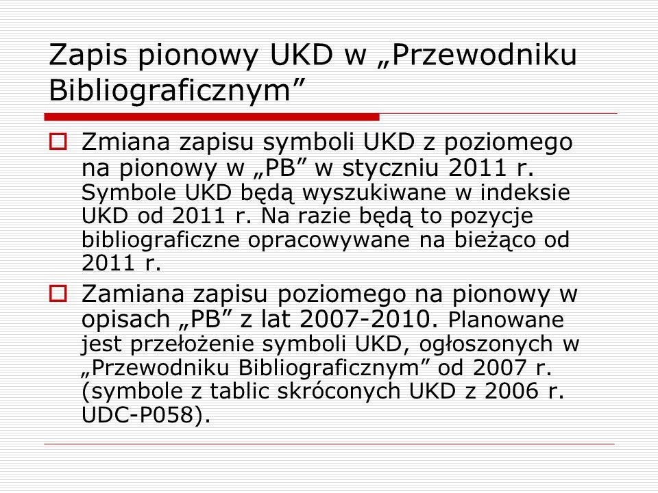 """Zapis pionowy UKD w """"Przewodniku Bibliograficznym"""