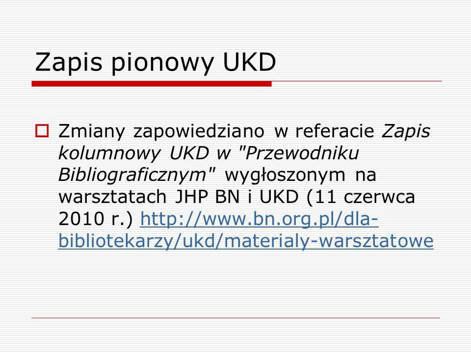 Zapis pionowy UKD