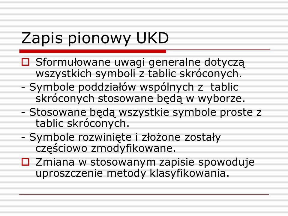 Zapis pionowy UKDSformułowane uwagi generalne dotyczą wszystkich symboli z tablic skróconych.