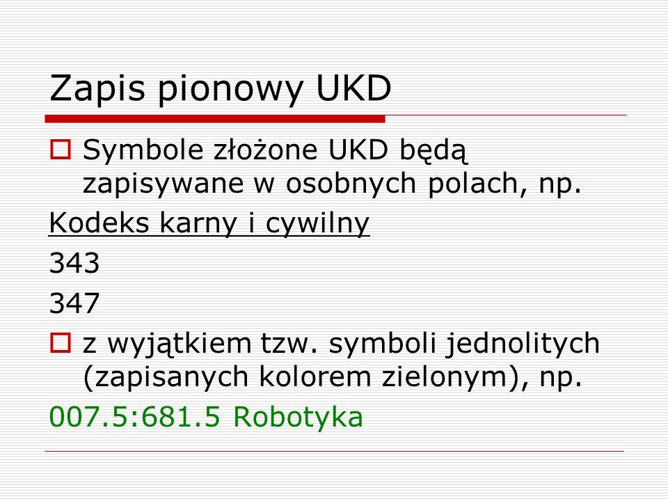 Zapis pionowy UKD Symbole złożone UKD będą zapisywane w osobnych polach, np. Kodeks karny i cywilny.