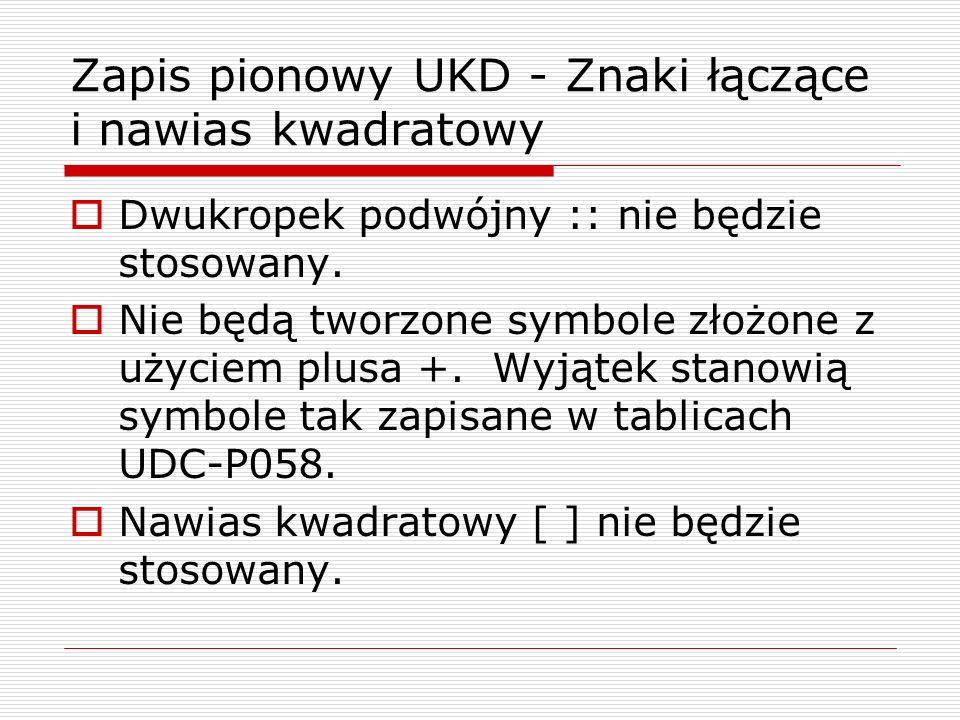Zapis pionowy UKD - Znaki łączące i nawias kwadratowy