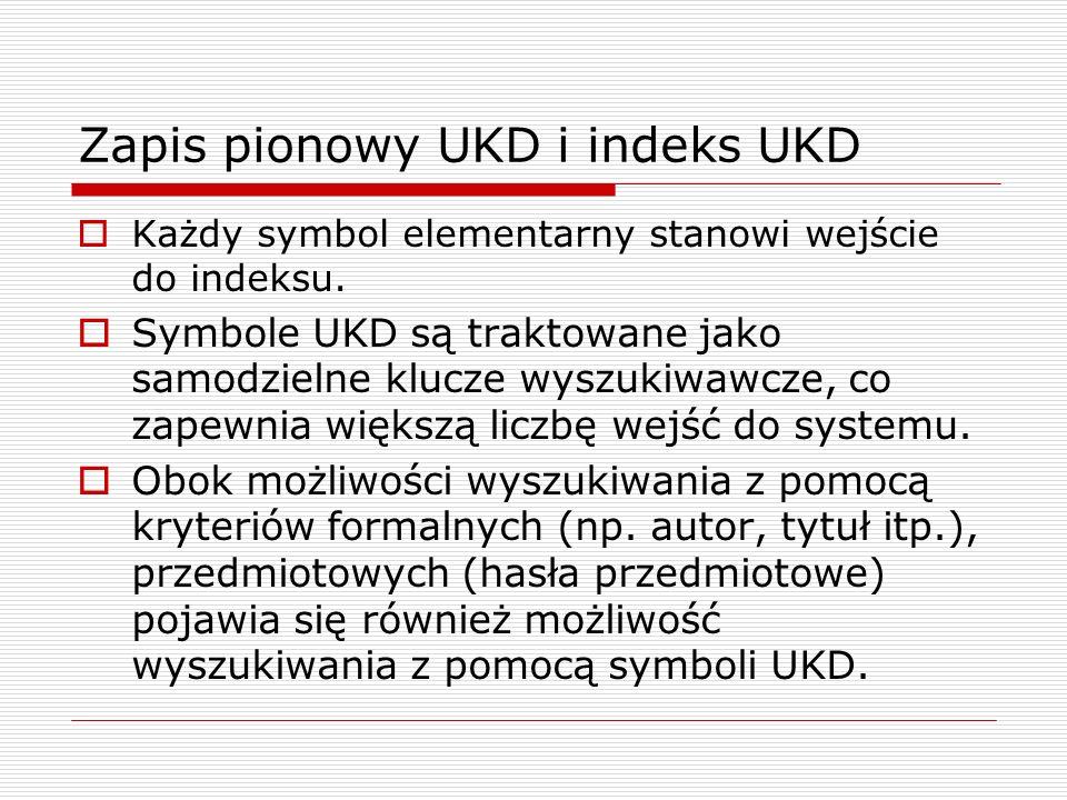 Zapis pionowy UKD i indeks UKD