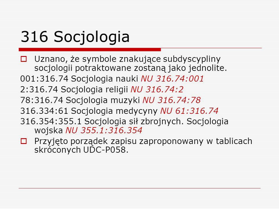316 Socjologia Uznano, że symbole znakujące subdyscypliny socjologii potraktowane zostaną jako jednolite.