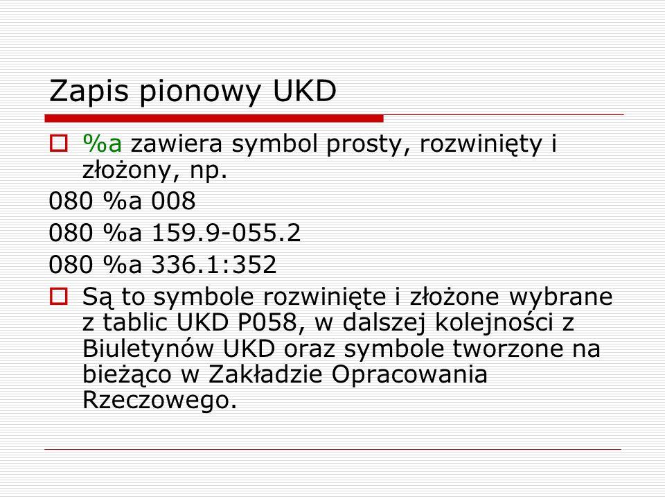 Zapis pionowy UKD %a zawiera symbol prosty, rozwinięty i złożony, np.