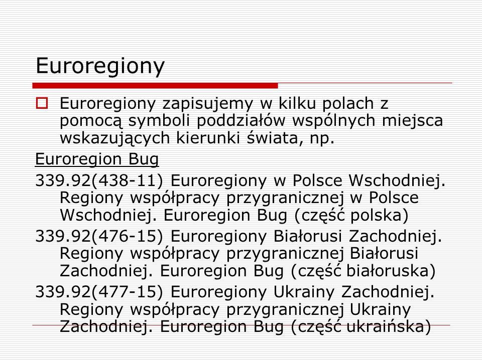 EuroregionyEuroregiony zapisujemy w kilku polach z pomocą symboli poddziałów wspólnych miejsca wskazujących kierunki świata, np.