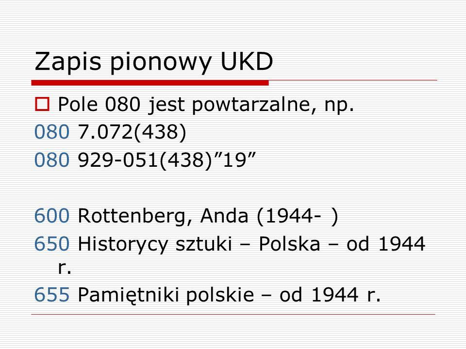 Zapis pionowy UKD Pole 080 jest powtarzalne, np. 080 7.072(438)