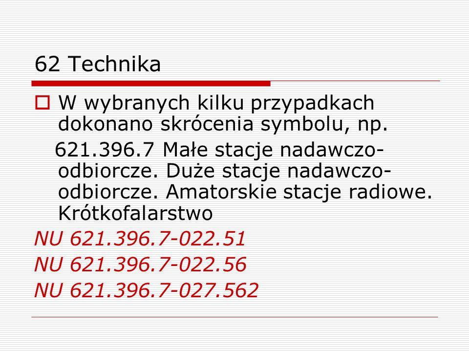 62 TechnikaW wybranych kilku przypadkach dokonano skrócenia symbolu, np.