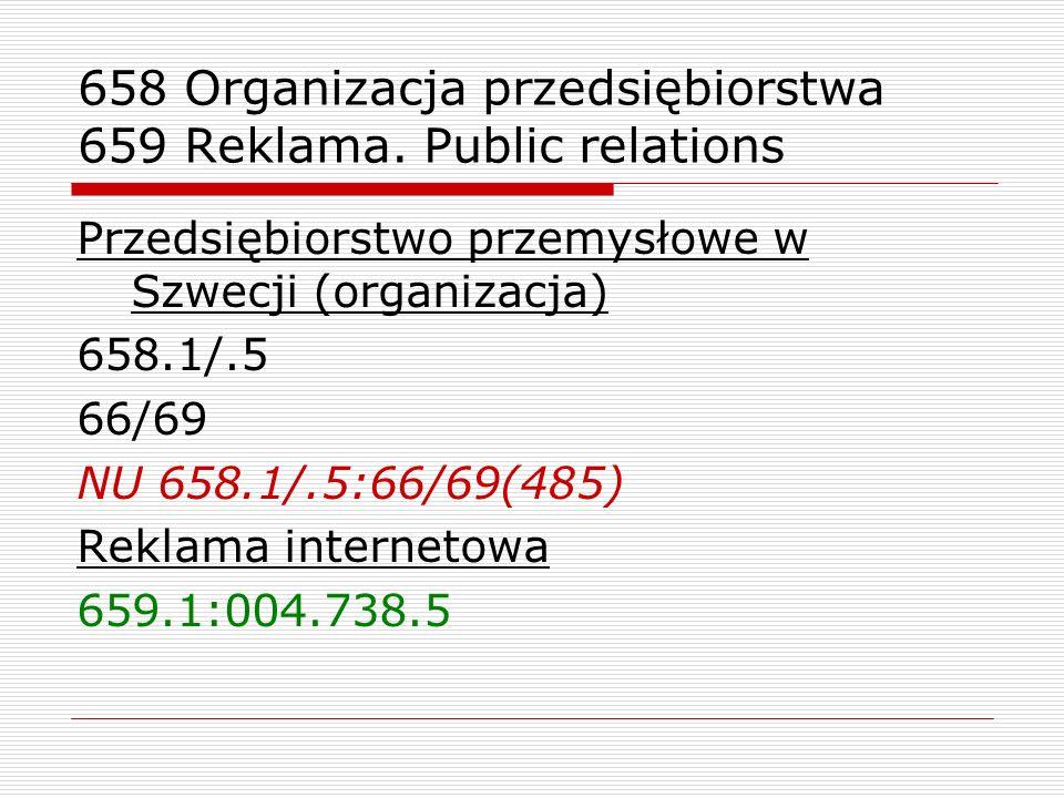 658 Organizacja przedsiębiorstwa 659 Reklama. Public relations
