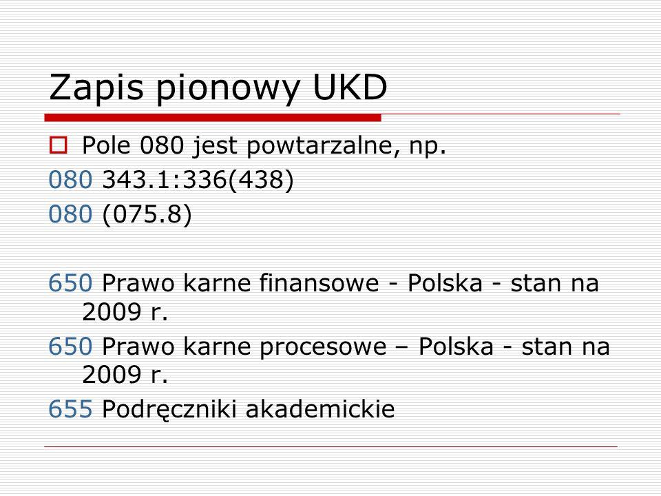 Zapis pionowy UKD Pole 080 jest powtarzalne, np. 080 343.1:336(438)