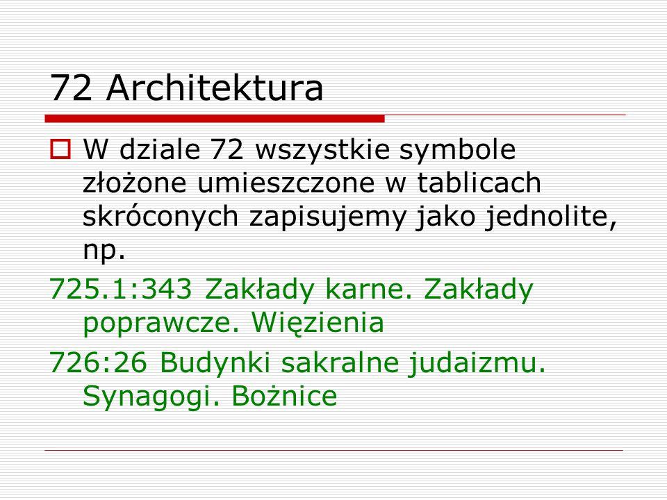 72 Architektura W dziale 72 wszystkie symbole złożone umieszczone w tablicach skróconych zapisujemy jako jednolite, np.