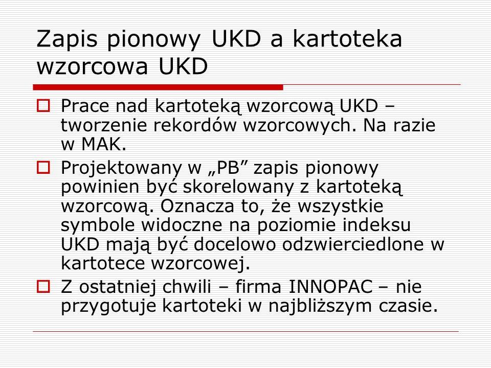 Zapis pionowy UKD a kartoteka wzorcowa UKD