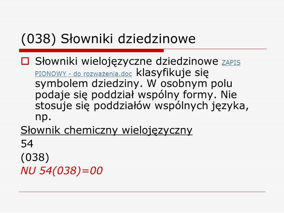 (038) Słowniki dziedzinowe