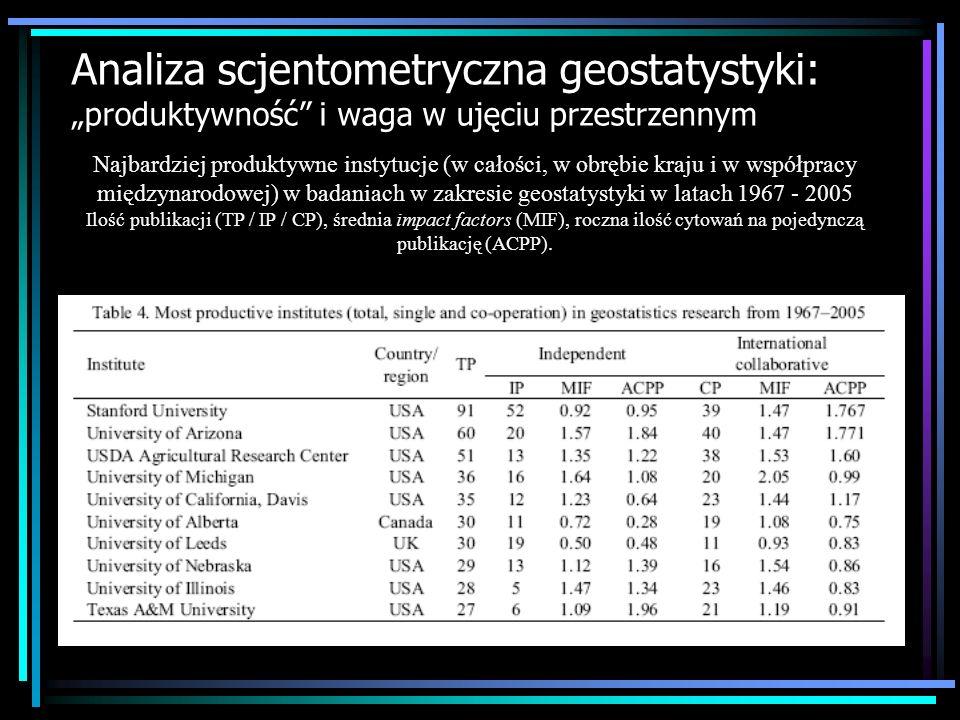"""Analiza scjentometryczna geostatystyki: """"produktywność i waga w ujęciu przestrzennym"""